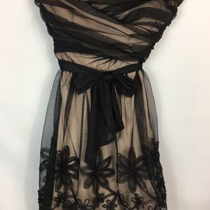 Mystic Black and Beige Strapless Dress